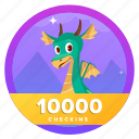 goal, challenge, award, dragon, badge, check
