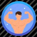 goal, challenge, award, social, muscle, badge
