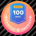 100d, award, badge, challenge, goal, social, streak