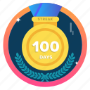 100days, 100ds, award, badge, challenge, goal, medal