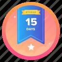 15dstar, award, badge, challenge, goal, social, streak
