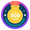 300days, 300ds, badge, challenge, honor, medal, social