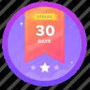 30d, award, badge, challenge, goal, social, streak