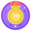 streak, goal, 30ds, award, social, badge, challenge