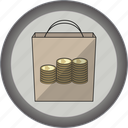 coin, gamification, good, medal, packet, sells, silver icon