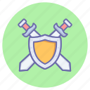defend, fight, game, gaming, knight, shield, swords icon