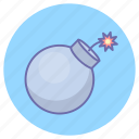 bomb, exploding, game, gaming, weapon icon