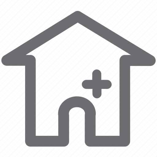 gray, home, hospital, house, location icon