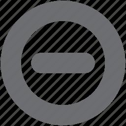 delete, gray, remove, subtract, subtracthollow icon