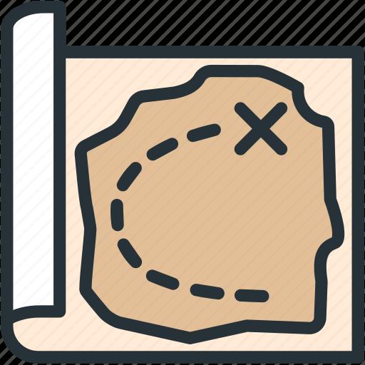 gaming, map, treasure icon