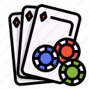 card, casino, gambling, game, risk, tokens icon