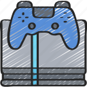 console, four, games, gaming, playing, ps icon