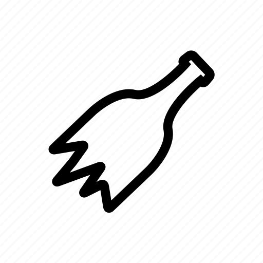 bottle, broken, cartoon, glass, sharp, smash icon
