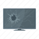 broken, garbage, glass, monitor, screen, trash, waste icon