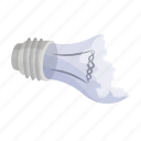 broken, garbage, glass, light bulb, trash, waste icon