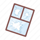 frame, garbage, glass, trash, waste, window, window frame icon