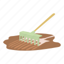 agricultural, agriculture, art, care, cartoon, design, rake icon