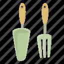 agricultural, cartoon, design, fork, garden, shovel, tool icon