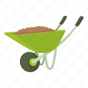 agriculture, barrow, carry, cart, cartoon, design, wheelbarrow icon