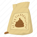 bag, cartoon, compost, fertilize, mulch, plant, soil icon