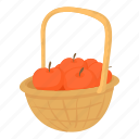 agriculture, apples, autumn, basket, bunch, cartoon, design icon