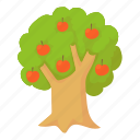 agriculture, apple, beauty, bio, cartoon, design, tree icon