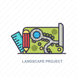 landscape, pencil, project, scale icon