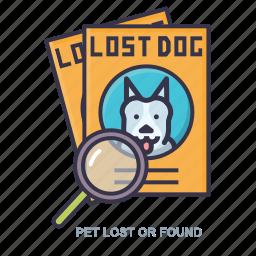 found, lost, pet, photo icon