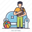 ball, man, pet, setting icon