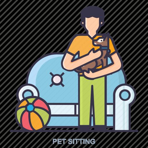 ball, man, pet, setting icon