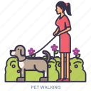 dog, pet, walking, women icon