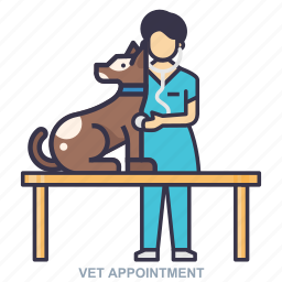 appointment, dog, vet, women icon