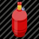 gas, isometric, balloon, steel, safety, cartoon, cylinder icon