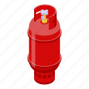 gas, isometric, hand, house, cartoon, cylinder, industrial icon