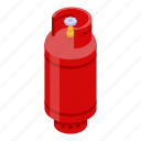 gas, isometric, computer, house, steel, cartoon, cylinder icon