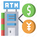 and, atm, cash, commerce, machine, money, shopping icon