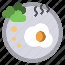 breakfast, croissant, drink, egg, hot, morning icon