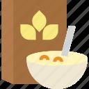 breakfast, cereals, food, healthy food, nutrition icon