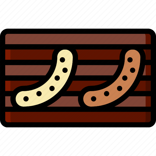 cooking, food, gastronomy, grilled, sausages icon
