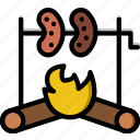 cooking, food, gastronomy, roasted, sausages icon