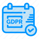 calendar, gdpr, security icon