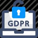 gdpr, key, laptop, lock, privacy