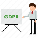 board, gdpr, man, personal, privacy, report icon