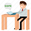 gdpr, man, message, notify, personal, privacy icon