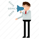 ad, advertisement, gdpr, man, personal, privacy, speaker icon
