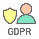 gdpr, profile, protection, regulation, shield, user icon
