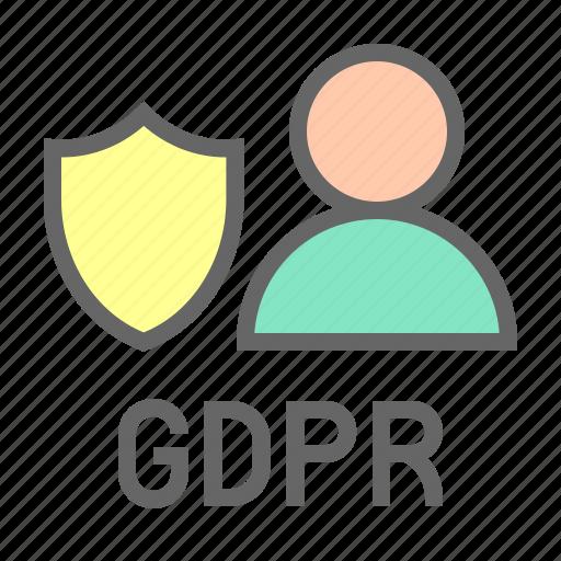 gdpr, profile, protection, regulation, shield, user icon