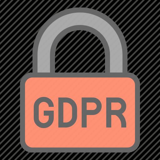 gdpr, law, lock, protection, regulation, safe icon