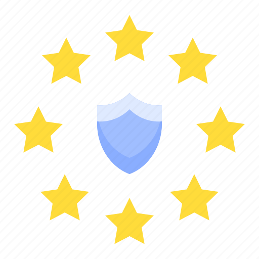 gdpr, law, protection, regulation, shield, star icon