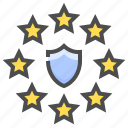 compliance, gdpr, law, protection, regulation, shield, star icon